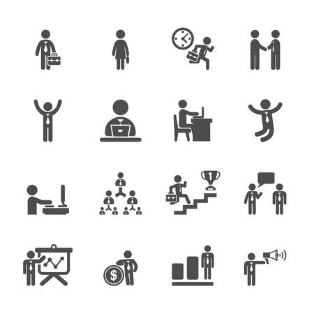 Illustration pour business people working action icon set, - image libre de droit