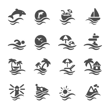 Illustration for summer beach icon set - Royalty Free Image