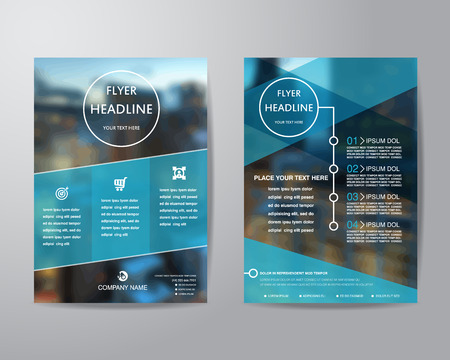 Ilustración de business brochure flyer design layout template in A4 size, with blur background, vector eps10. - Imagen libre de derechos