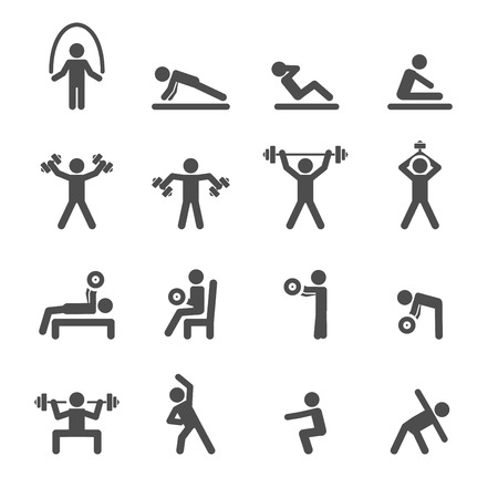 Ilustración de people exercise in fitness icon set, vector . - Imagen libre de derechos