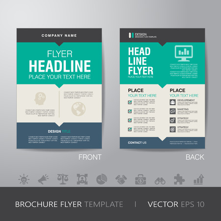 Ilustración de corporate brochure flyer design layout template in A4 size, with bleed, vector eps10. - Imagen libre de derechos