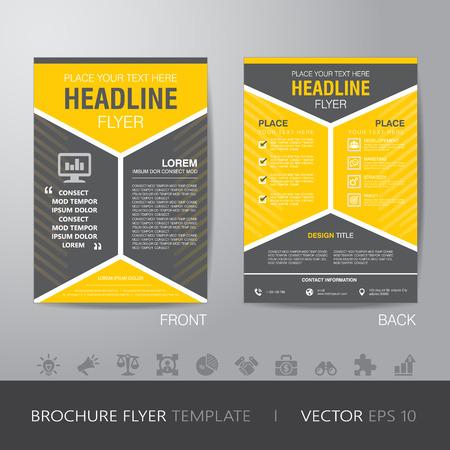 Ilustración de corporate hexagonal brochure flyer design layout template in A4 size, with bleed - Imagen libre de derechos