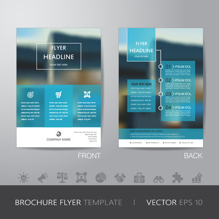 Ilustración de corporate blur background brochure flyer design layout template in A4 size, with icon for your content, with bleed, vector  - Imagen libre de derechos