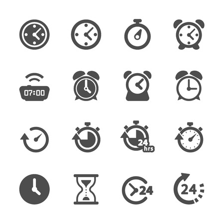 Illustration for time and clock icon set, vector eps10. - Royalty Free Image