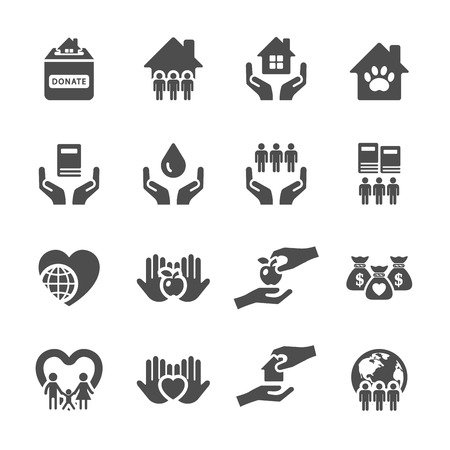Ilustración de charity and donation icon set 2, vector eps10. - Imagen libre de derechos