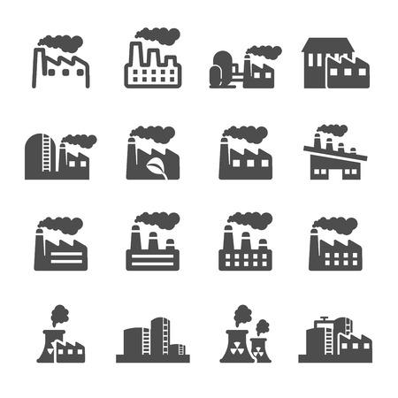 Ilustración de factory plant building icon set, vector - Imagen libre de derechos