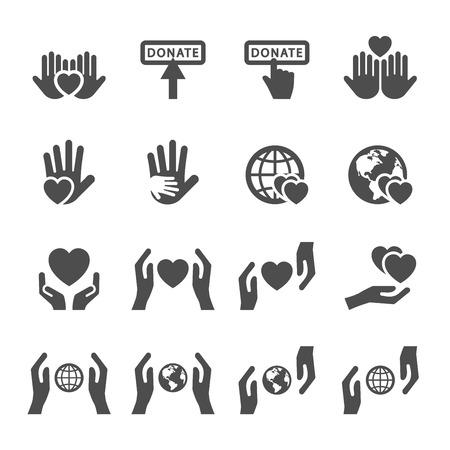 Ilustración de charity and donation icon set 4, vector eps10. - Imagen libre de derechos