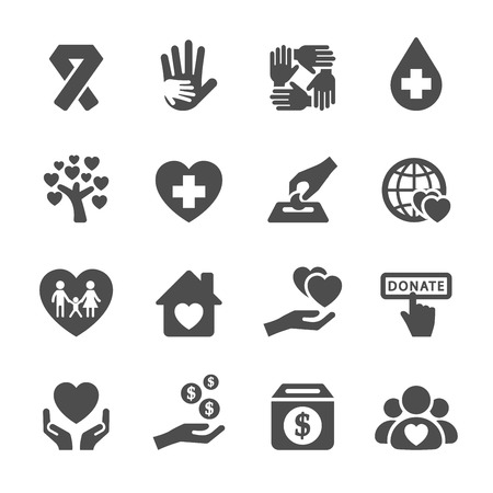Illustration for charity and donation icon set 5, vector eps10. - Royalty Free Image