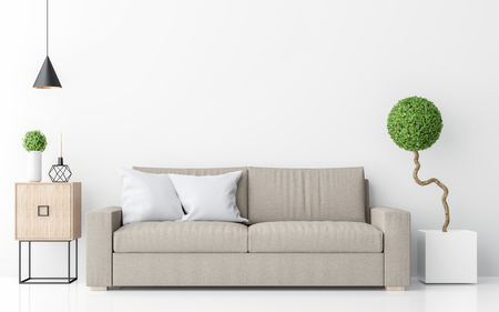 Foto de Modern white living room interior minimalist style image 3d rendering .There are light brown sofa,white wall and sphere form tree - Imagen libre de derechos