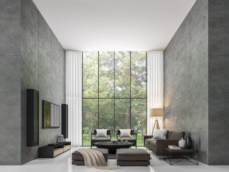 Foto für Modern loft living room 3d rendering image The living room has a high ceiling. There is a polished concrete wall. White floors and large windows overlook the garden - Lizenzfreies Bild