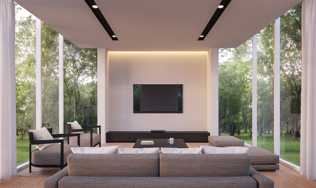 Photo pour Modern living room with garden view 3d rendering Image.White living room with glass wall Wood floor Surrounded by gardens, furnished with gray fabric furniture. - image libre de droit