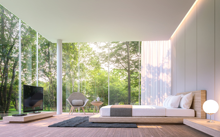 Photo pour Modern bedroom with garden view in the morning 3d rendering image.There are large window overlooking the surrounding garden and nature and finished with wooden furniture - image libre de droit