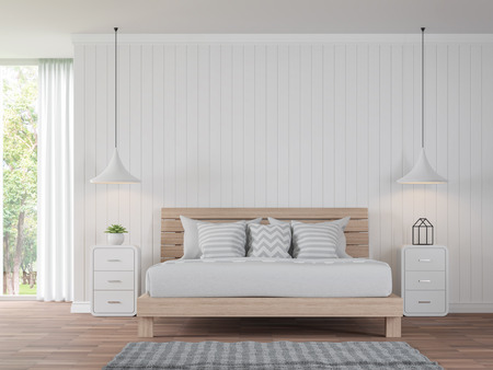Photo for Modern white bedroom vintage Style 3d rendering image.There are wood floor decorate wall with white wooden plank .There are large windows look out to see the nature - Royalty Free Image