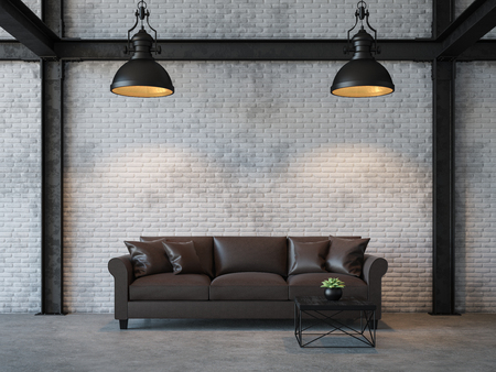 Photo pour Loft style living room 3d rendering image.There are white brick wall,polished concrete floor and black steel structure.Furnished with dark brown leather sofa - image libre de droit