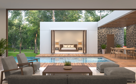 Foto de Modern contemporary pool villa 3d rendering image.Pool villa surrounded by nature, there is a swimming pool in the middle. Decorated with wood and natural stones. - Imagen libre de derechos