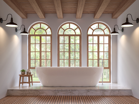 Photo pour Scandinavian bathroom 3d rendering image.The Rooms have wooden and white marble floors,wooden ceilings and white walls .There are arch shape window overlooking to the nature. - image libre de droit