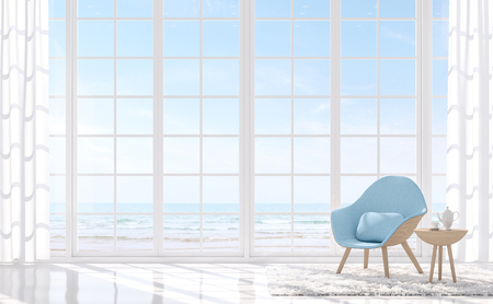 Photo for Modern white living with sea view 3d render.There are white floor and white window.Furnished with light blue armchair.There are large window overlooks to sea view. - Royalty Free Image