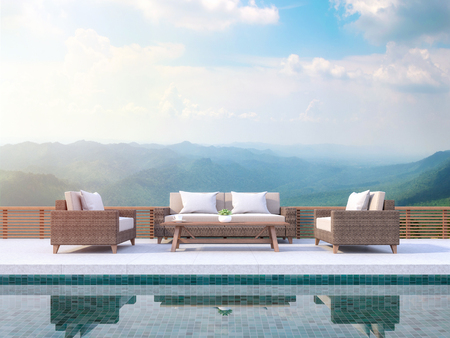 Photo pour Contemporary pool terrace with mountain view 3d render. There are green pool tile.Furnished with rattan furniture. There are wooden railing overlooking  mountain view. - image libre de droit
