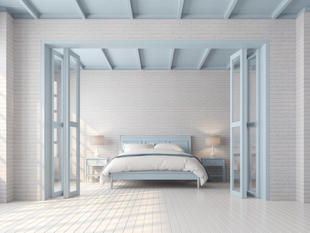 Photo pour Vintage bedroom 3d render,There are white brick pattern wall,wood plank floor,blue pastel color furniture,door and ceiling,The room has sunlight shining through to inside. - image libre de droit