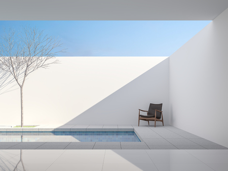 Photo for Minimal white style pool villa 3d render,View from living room to pool terrace ,There are gray tile floor,decorate with dark brown leather chair ,Brightness sunlight shining into inside. - Royalty Free Image