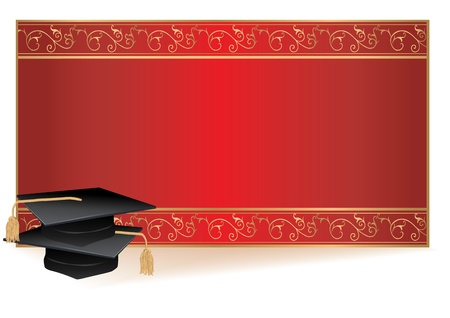 Graduation invitation card with gold border with mortars