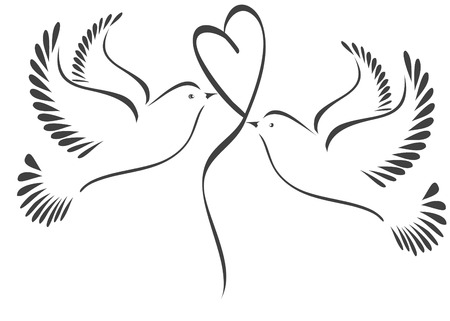Illustration pour Doves with heart stylized - image libre de droit