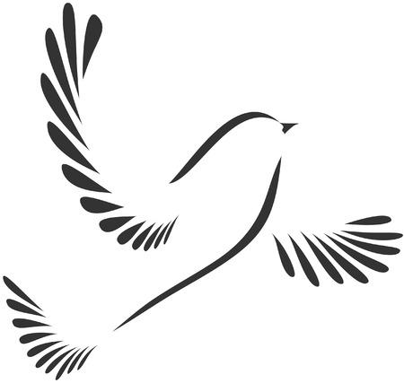 Illustration pour Dove or bird stylized - image libre de droit