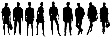 Abstract vector people silhouettes illustration