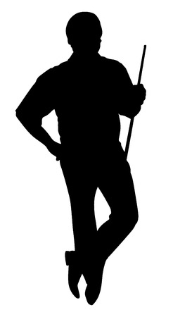 Vector silhouette of man with cue