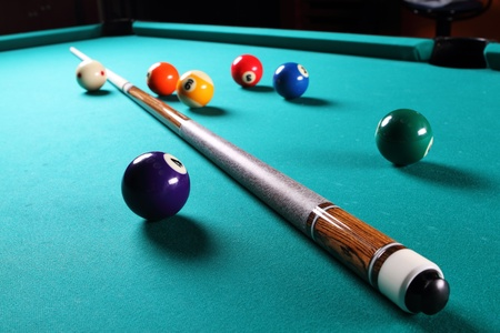Billiard table with balls Close-up Narrow depth of field
