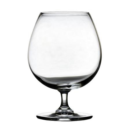 Foto de Single empty brandy glass on white background. isolated - Imagen libre de derechos