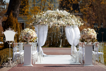 Photo for Wedding arch in the garden - Royalty Free Image