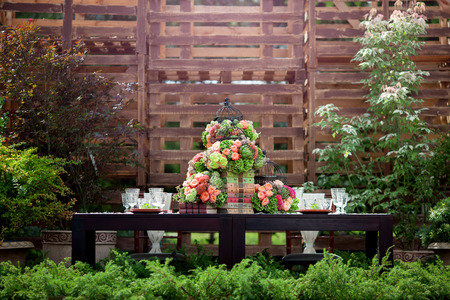 Foto de Table set for an event party or wedding reception - Imagen libre de derechos