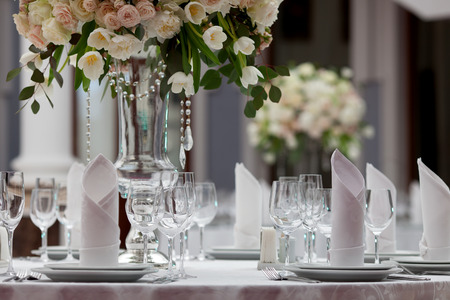 Photo for Table setting at a luxury wedding reception - Royalty Free Image