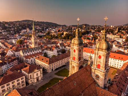 Foto de Beautiful Aerial View of St. Gallen Cityscape Skyline, Abbey Cathedral of Saint Gall in Switzerland - Imagen libre de derechos