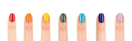 rainbow manicure, seven color nail polish
