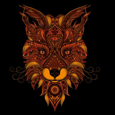 Illustrazione per Fox red vector on black background - Immagini Royalty Free
