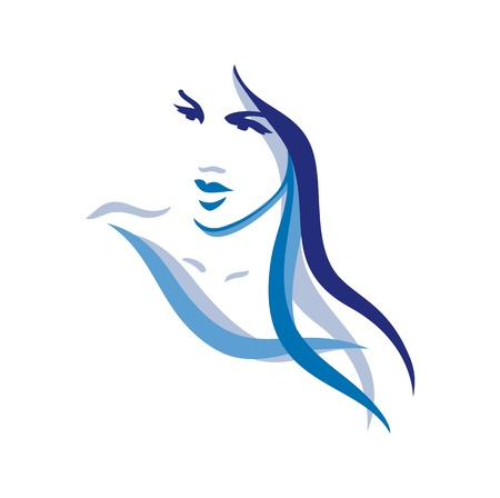 Beautiful woman face with long hair