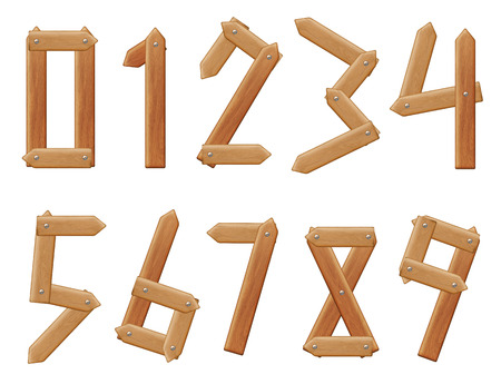 Vector numbers to ten, with texture of wood