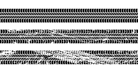 Illustration pour Set of seamless car tire tracks isolated on white background, seamless vector texture - image libre de droit