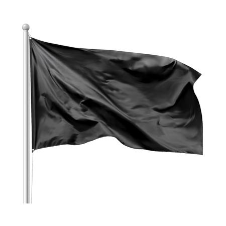 Ilustración de Black flag waving in the wind on flagpole, isolated on white background, vector - Imagen libre de derechos