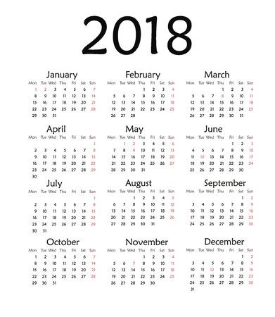 Illustration for Simple calendar for 2018. Vector template design monthly date illustration 2018 calendar week organizer simple number. Organizer date 2018 year calendar month business template design. - Royalty Free Image