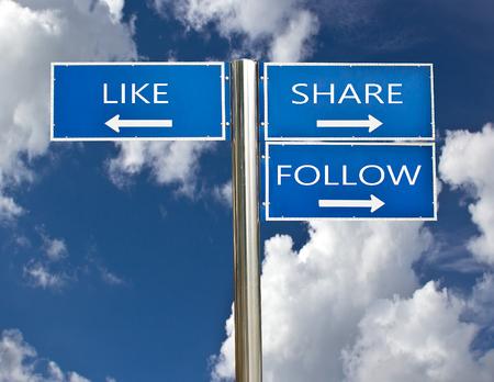 social media sign on sky background