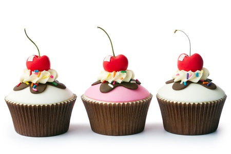 Photo for Cupcakes decorated with a retro ice cream sundae theme - Royalty Free Image