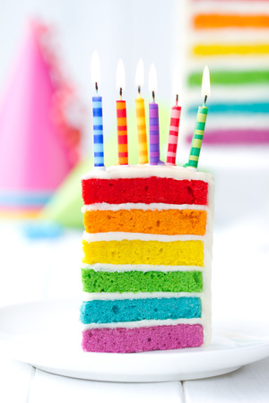 Photo for Rainbow cake decorated with birthday candles - Royalty Free Image