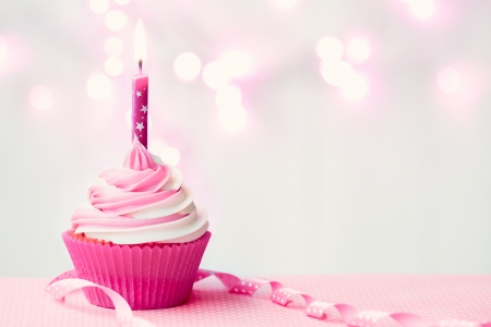 Photo for Pink birthday cupcake - Royalty Free Image