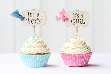 Photo pour Baby shower cupcakes for a girl and boy - image libre de droit