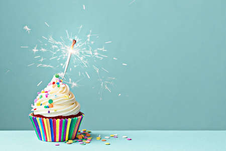 Photo pour Cupcake decorated with colorful sprinkles and a sparkler - image libre de droit