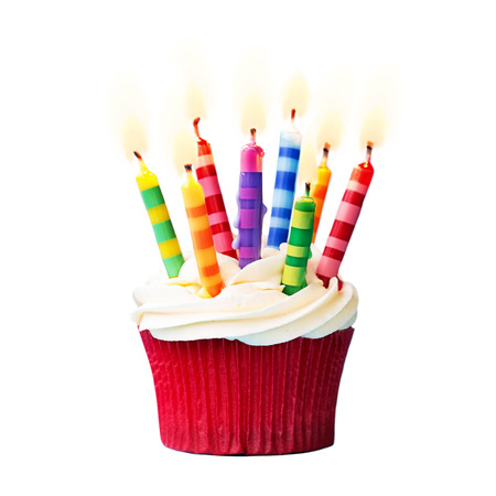 Photo for Birthday cupcake against a white background - Royalty Free Image