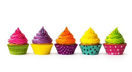 Photo pour Colorful cupcakes on a white background - image libre de droit
